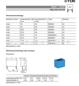 薄膜电容 B32652A473K B32652A0473K000 0.047uF 1KV 10%
