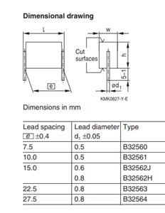 薄膜电容器 B32560J6473K 0.047uF 400volts 10% PS=7.5MM