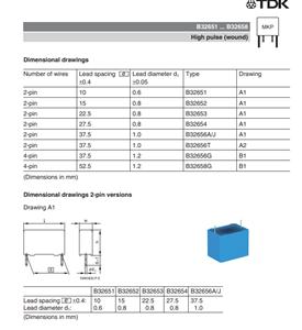 薄膜电容器 B32654A1104J 0.1uF 1600volts 5% LS=27.5MM
