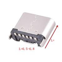 TYPE-C 6P母座立式贴板L6.