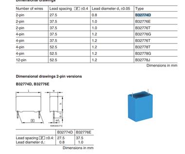 薄膜电容器 B32774D205J000 2UF 5% 1100V 引线间距27.5MM
