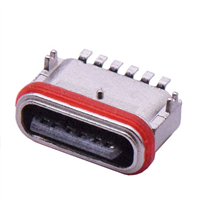 TYPE-C6P防水母座卧式贴片锌合金H6.65MM