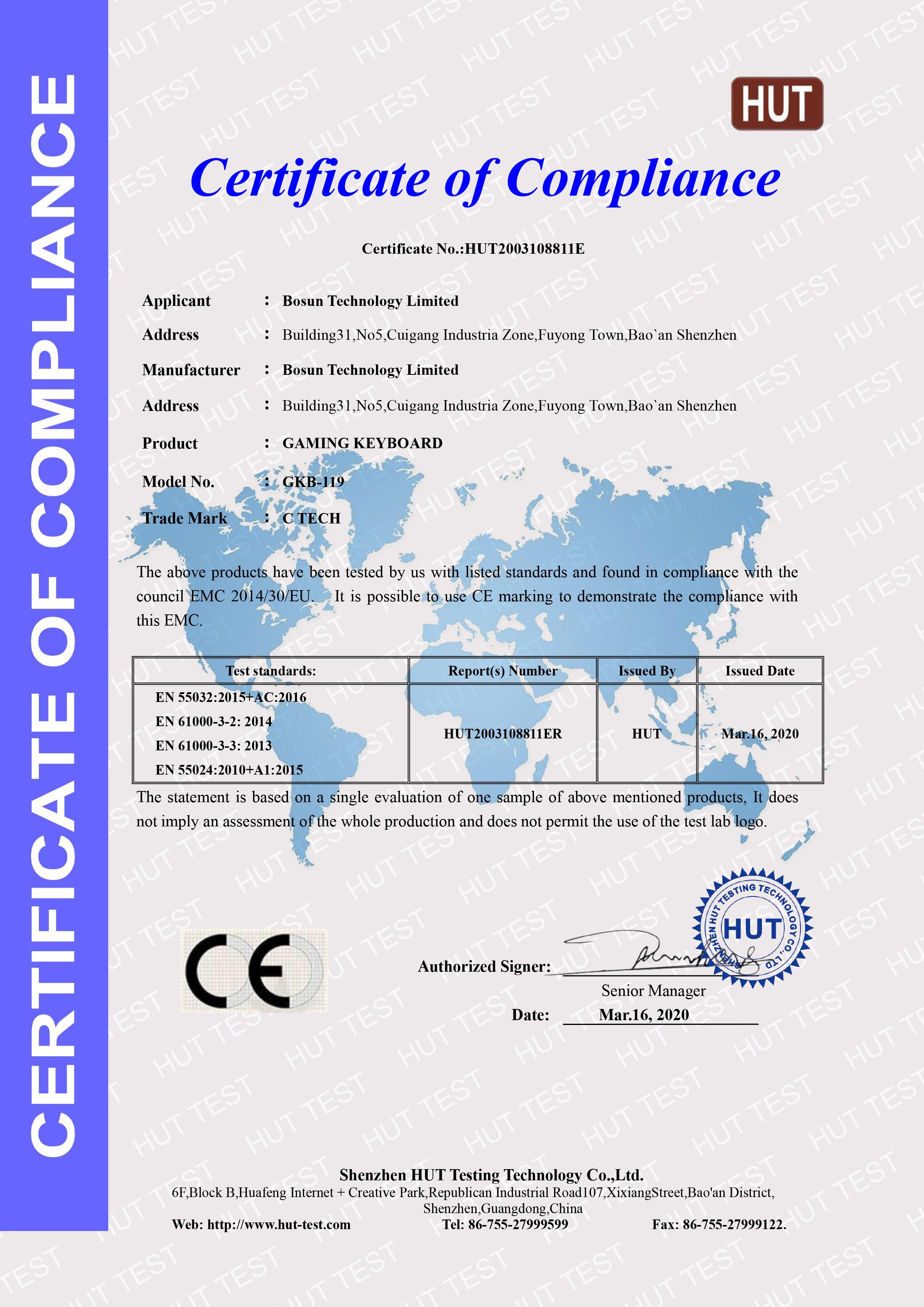 certificate ce emc hut rohs lvd